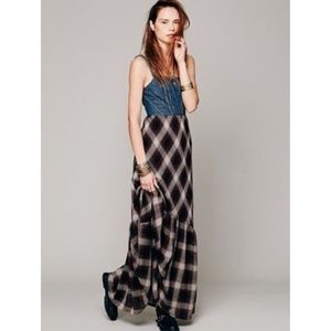 Free People Wild Coyote Plaid Denim Maxi Dress